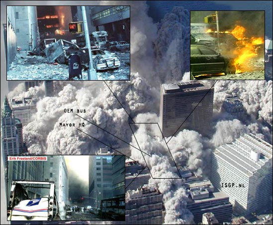 wtc7-east-explosions-location-burning-cars-OEM-bus-mayor-Giuliani-hq-north-tower-collapse-fire