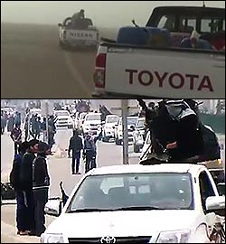 Toyota and Nissan trucks in ISIS force in 2013 and 2014, before and during the attack on Fallujah and Ramadi.