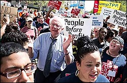 Bernie Sanders at Occupy Wall Street in 2011.