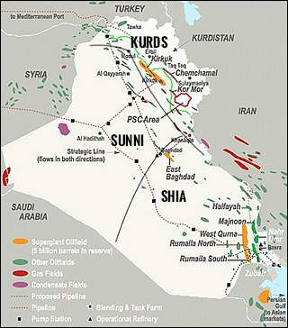 Iraq oil map. Shiite, Sunni, Kurd borders.