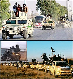 Captured American humvees by ISIS, 2,300 in total, and Toyota and Ford trucks.