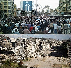 Syria Homs destruction after th Arab Spring. War against ISIS.
