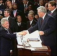 Denny Hastert with Bill Clinton