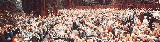 Bohemian Grove dinner in the forest