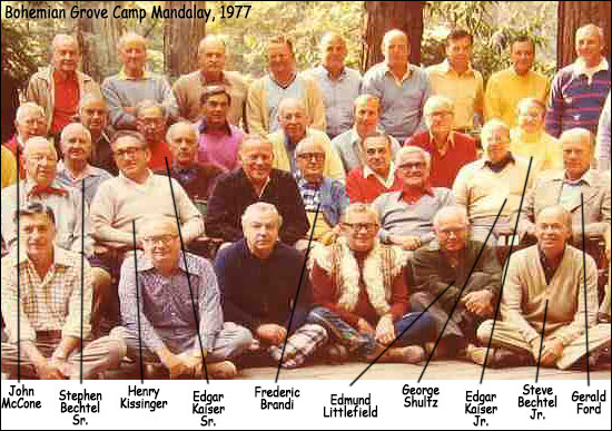 Bohemian Grove Camp Mandalay, 1977, with Henry Kissinger, George Shultz, Gerald Ford, the Bechtels, Kaisers and other big names.